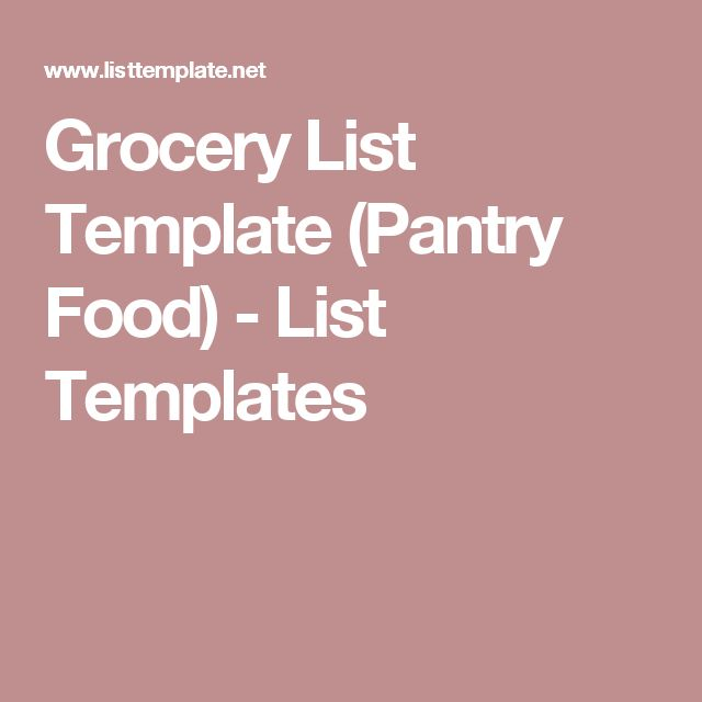 Grocery List Template (Pantry Food) - List Templates