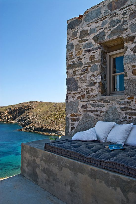 This looks like the perfect spot to curl up with a glass of wine and a good book. House in Serifos, Greece