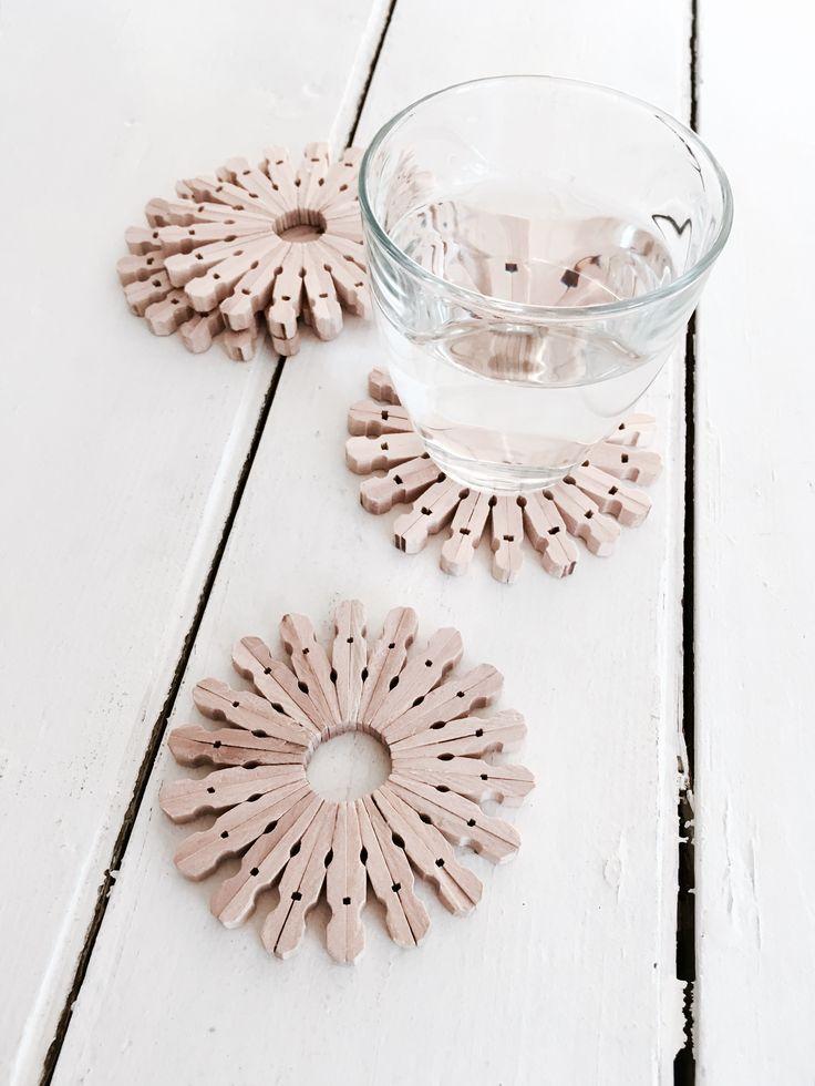 DIY: glasonderzetters gemaakt van mini wasknijpers #wasknijpers #houtlijm #geduldnodig