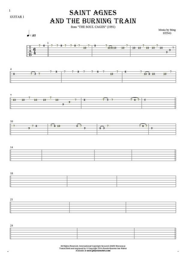 Saint Agnes And The Burning Train sheet music by Sting. From album The Soul Cages (1991). Part: Tablature for guitar - guitar 1 part.