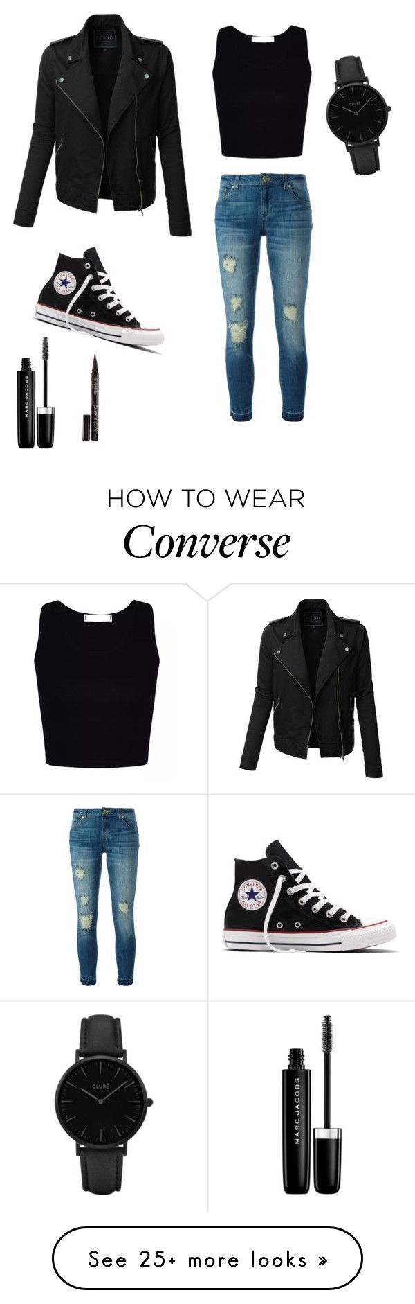 """""""#polyvore"""" by mina-polyvore on Polyvore featuring MICHAEL Michael Kors, LE3NO, Converse, Marc Jacobs, Smith & Cult and CLUSE"""