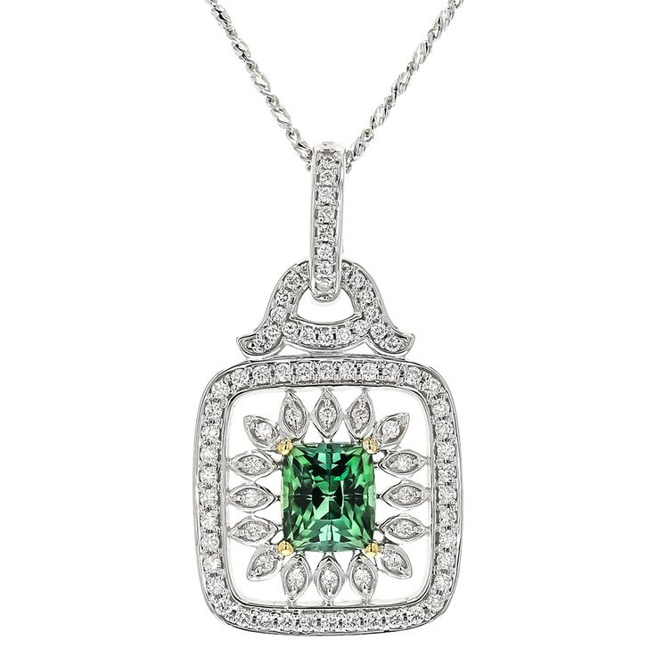 """Beautiful 1.61 Carat Cushion Cut Blue Green Non-Heat Treated Tourmaline with 0.43 Carat Total Weight Round Diamonds set in 18 Karat White & Yellow Gold With a 18"""" 1 Millimeter Raso Chain. The Juleve Necklace is Exclusively at Gold and Diamond Source and was Proudly Designed & Manufactured in U.S.A."""