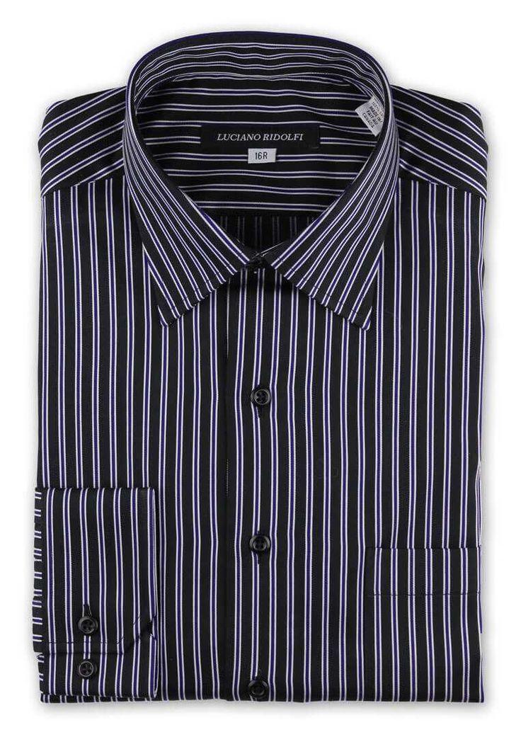 Luciano Ridolfi Black & Purple Ticking Stripe Button Cuff Shirt - https://www.ridolfiwear.com/dress-shirts/luciano-ridolfi-black-purple-ticking-stripe-button-cuff/