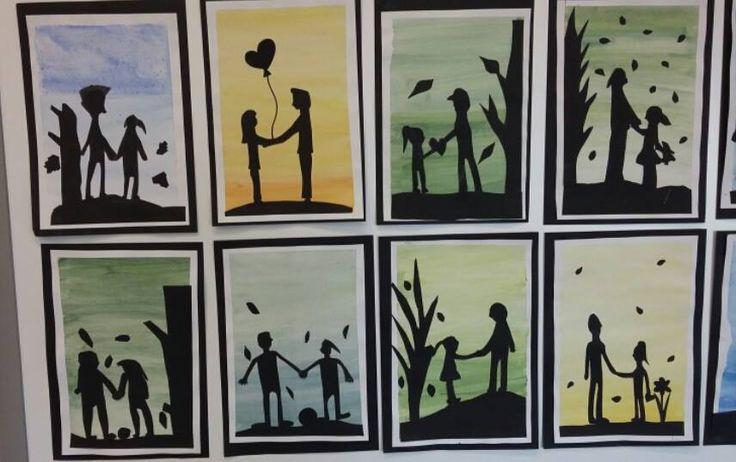 """""""Isä ja minä"""". Kolmasluokkalaisten isänpäivätaulut. Siluettikuva mustalle piirustuspaperille piirtämällä ja leikkaamalla. Liimataan isän lempivärillä maalatulle taustalle.(Idea Kirsi Eskelinen, FB/Alakoulun aarreaitta)"""