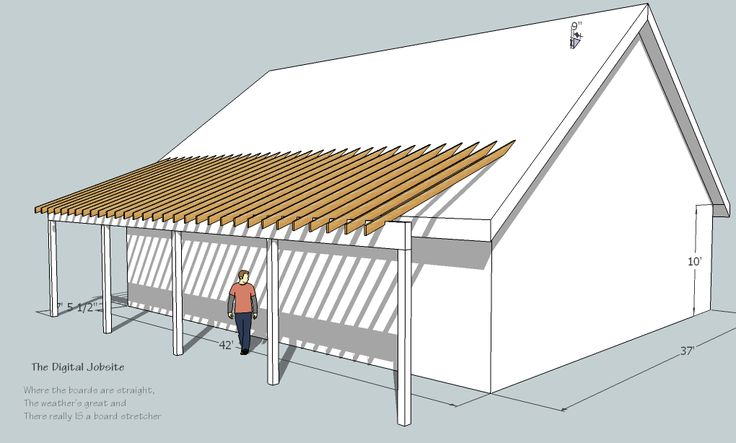 Shed roof deck decks learn build shed style porch roof for Porch plans shed roof
