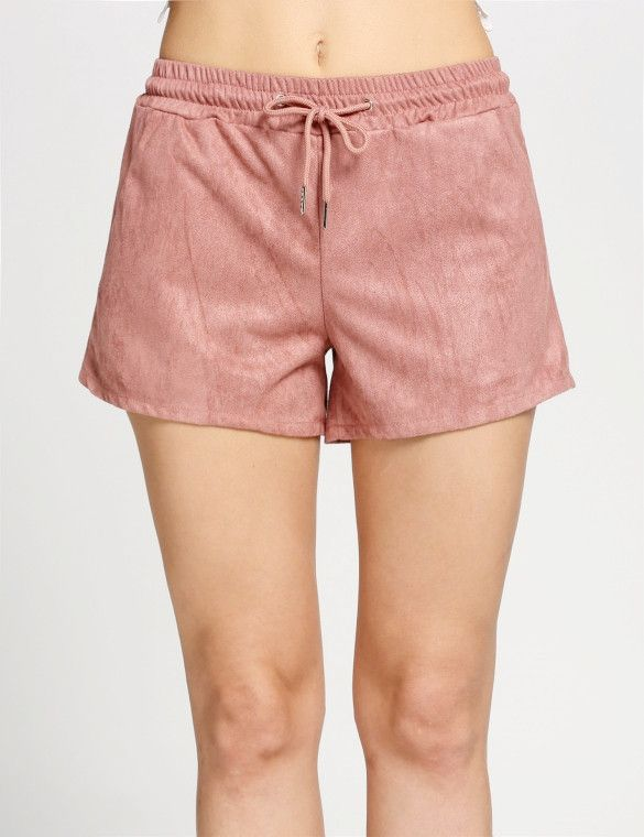 Product Description: Woman's Casual Faux Suede Solid Color Shorts with Drawstring Elastic Waist and Pocket. Material: Faux Suede, Color: Pink, Design: Drawstring Elastic Waist, Season: Summer, Autumn,