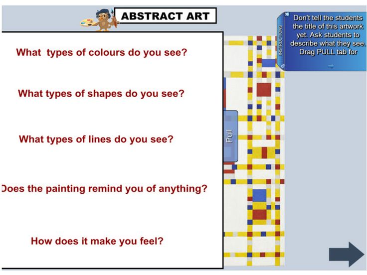 """This excellent resource provides IWB support material for the Stage 2 Visual Arts Unit of Work """"Artrage"""". Students look at artworks by Piet Mondrian and Wassily Kandinsky to appreciate the ways that artists have used colour, line, shape and texture. Using these elements, students create abstract paintings, relief sculptures and collages, representing aspects of the environment and faces. https://www.interactivelessons.com.au"""