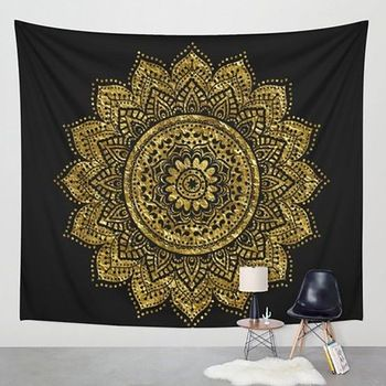 Hippie Tapestry Printed Lotus Tapestry Bohemia Mandala Tapestry Serviette Plage Wall Hanging For Wall Decoration Yoga Mat Newest  Price: 5.30 USD