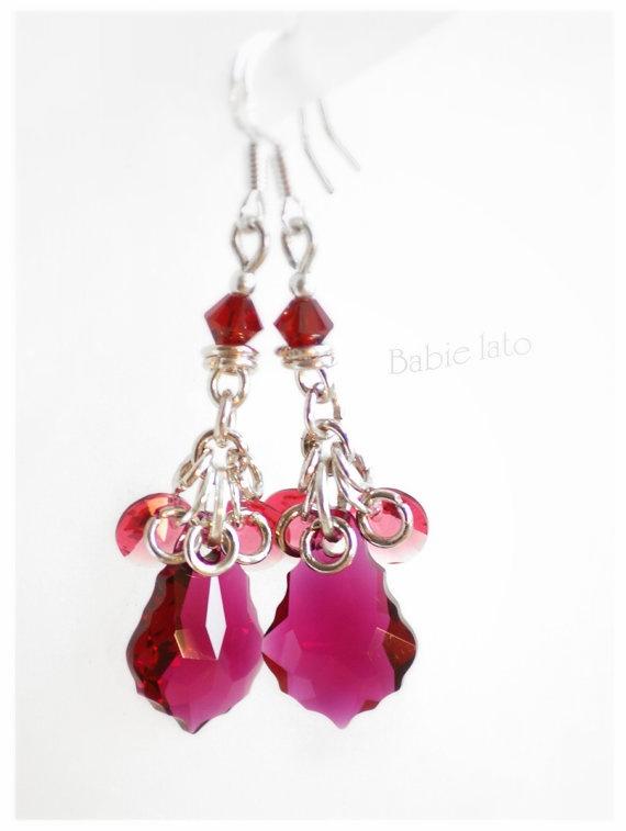 Raspberry me // raspberry swarovski crystals by ILoveIndianSummer, £26.00
