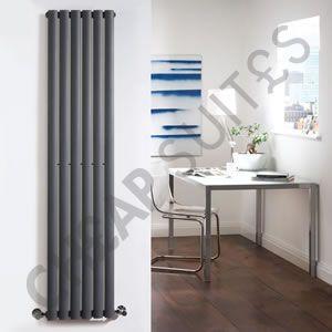 635mm x 420mm - Anthracite Landscape Double Panel Designer Radiator - Slimline Panels