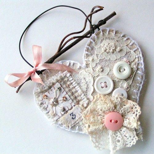 Embellished linen heart
