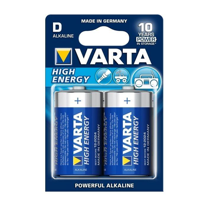 #Batterie #Varta High Energy (Tipo D ) LR20  1.5V- #Blister 2 Pz