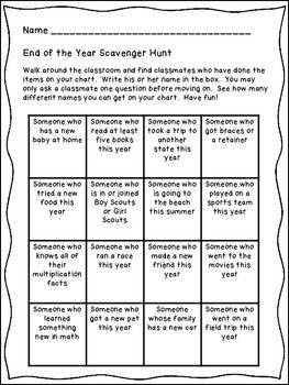 END OF THE SCHOOL YEAR SCAVENGER HUNT - A GREAT WRAP UP TO YOUR YEAR - TeachersPayTeachers.com