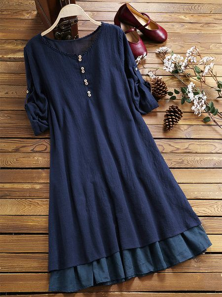 Crew Neck Women Casual Dresses Shift Tiered Dresses 1