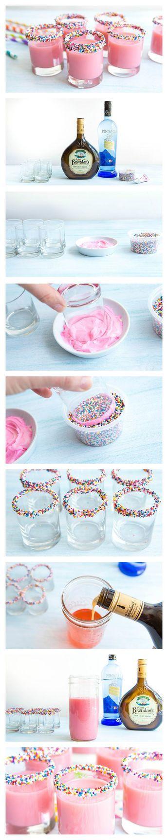 Bright pink shots that taste just like birthday cake! Or strawberry milk!!!