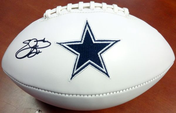 Emmitt Smith Autographed Dallas Cowboys Logo Football PSA/DNA