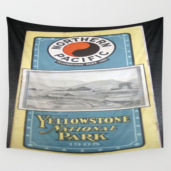 Yellowstone Northern Pacific Rail Time Table Wall Tapestry