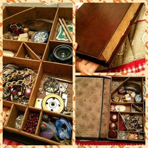 Organizzare i miei strumenti di lavoro in un libro/scatola realizzato a mano! Handmade by Sara.