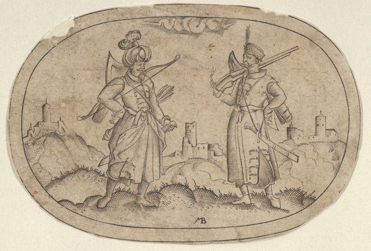 A Turkish Man and a Polish Man, from Das Bossenbüchlein Mathais Beitler  (German, Ansbach, active ca. 1582–1616)