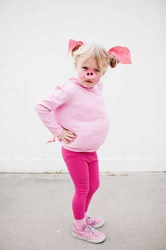 Easy Pig Costume--Maybe change the ears and nose to a pig mask?