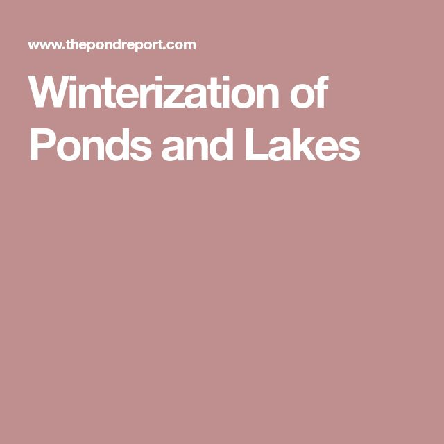 Winterization of Ponds and Lakes