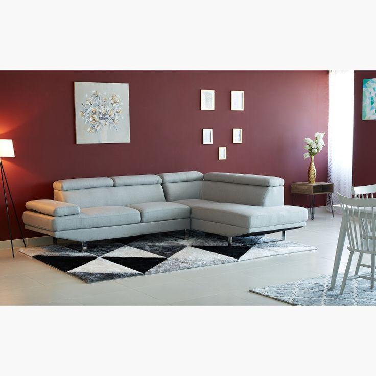 كنبة ركنية يسارية بـ5 مقاعد مع مسند رأس متعددة الوضعيات من بيانكا رمادي Living Room Decor Room Decor Home Decor