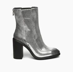 Stacey Silver Embossed Lizard Brush Leather | Stacey presents a new chic feminine look combining with the over ankle height boot. The injected chunky rubber heel creates the urban modern touch of the shoe.