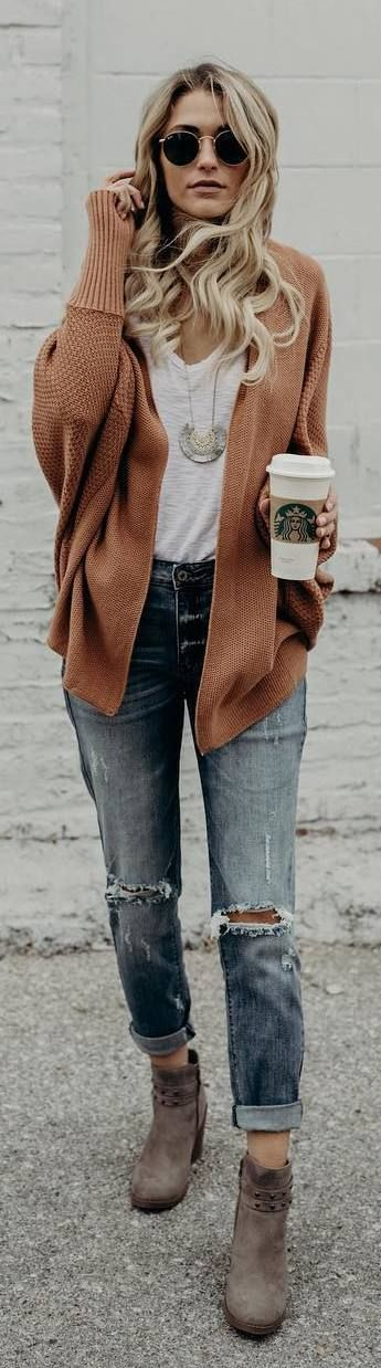 #fall #outfits orange cardigan ripped boyfrien jeans boots