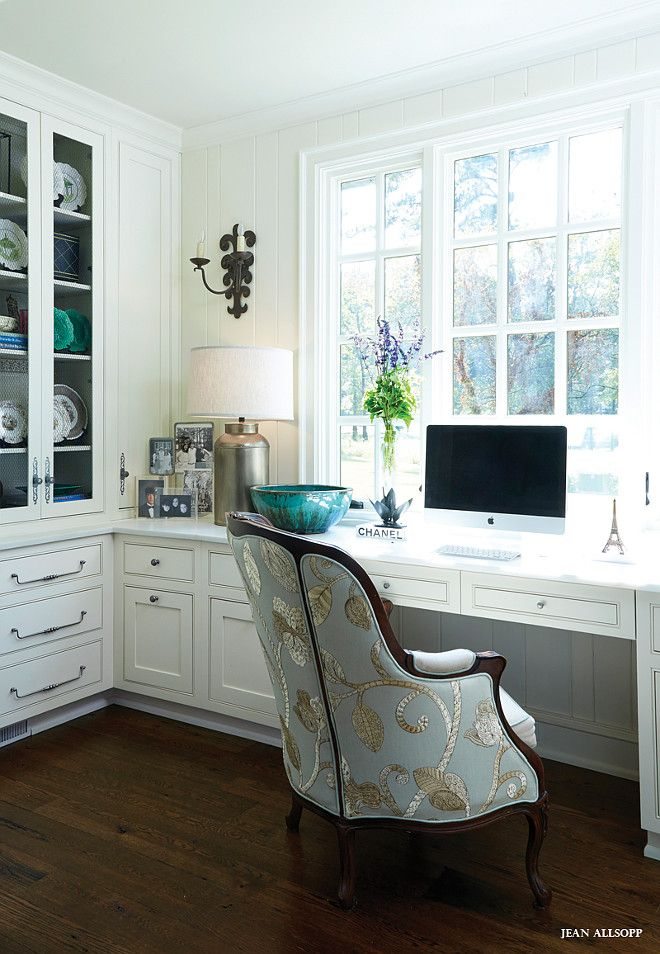 Home Office Desk Cabinet Ideas. Traditional home office with built in desk cabinet. Home Office Cabinetry. #Homeoffice #Desk #Cabinet Mark Kennamer Design.