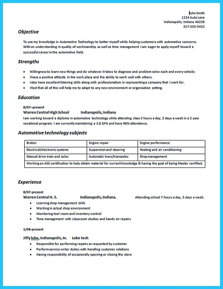 To Write An Automotive Technician Resume Is Similar With