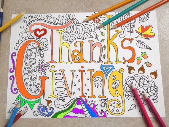 thanksgiving adult coloring book page di LaSoffittaDiSte su Etsy