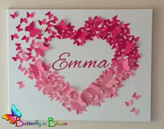 "20 ""x 20"" personalisierte rosa Ombre Name Schmetterling Wandkunst – New"