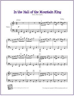 In the Hall of the Mountain King (Grieg) | Sheet Music for Easy Piano - http://makingmusicfun.net/htm/f_printit_free_printable_sheet_music/in-the-hall-of-the-mountain-king-piano.htm