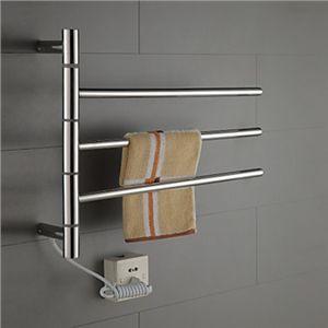 タオルウォーマー-Homezakka 壁掛けタオルウォーマー タオルハンガー+簡易乾燥 ステンレス鋼 180°回転可能 30W