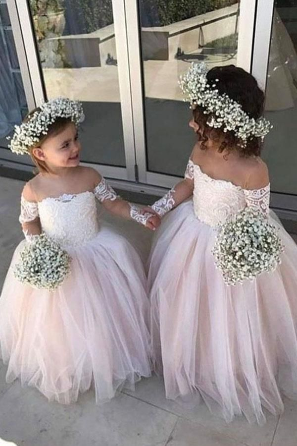 b92548832a5 Pretty Long Sleeves Ivory And Pink Cute Flower Girl Dresses Z1482