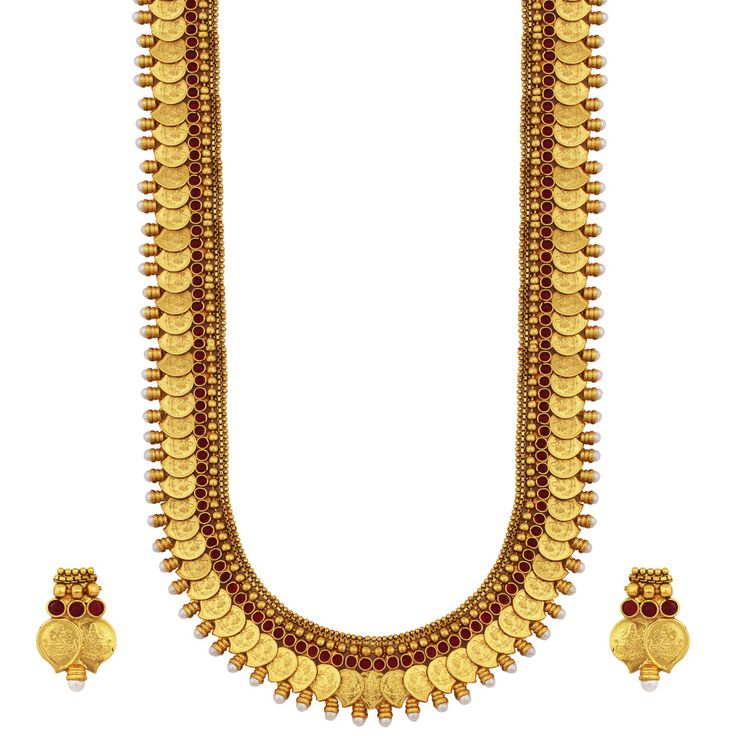 Gold Plated Ruby Haram Necklace Set