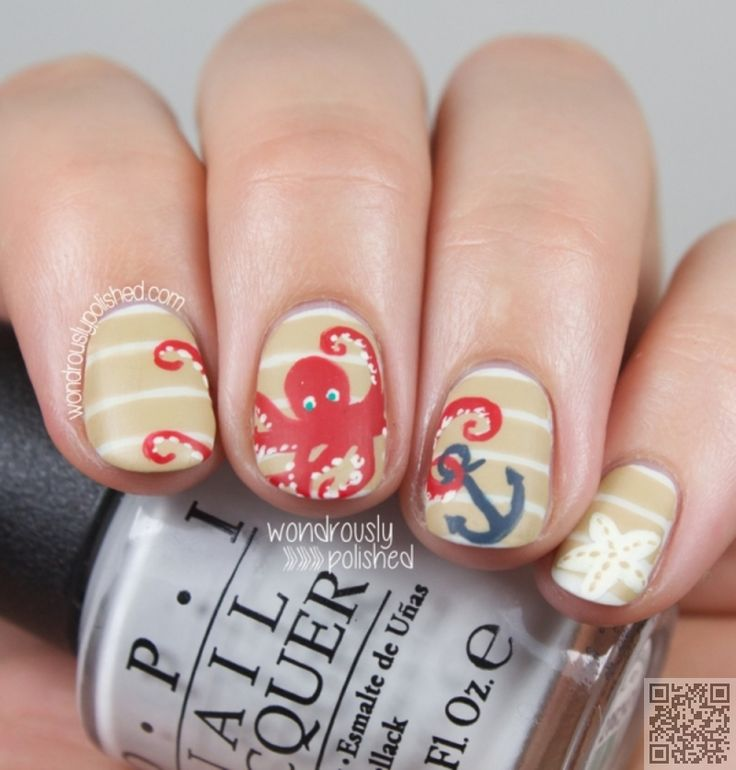 The 25 best beach themed nails ideas on pinterest beach nail cute red octopus with an anchor 40 awesome beach themed prinsesfo Image collections