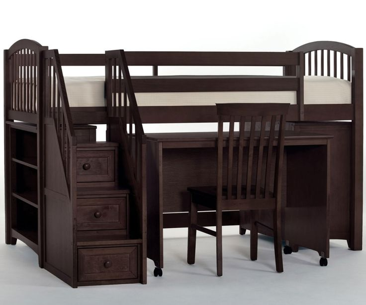 School House Espresso Chocolate Finish Junior Store And Study Low Loft Bed With Stairs