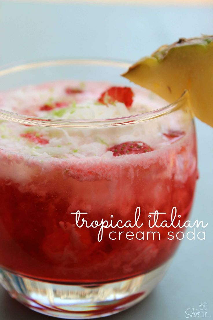 Tropical Italian Cream Soda has all the elements to a beach side drink with pineapple, coconut, cherry, a touch of cream and most importantly carbonation.