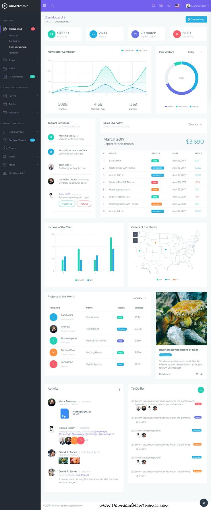 AdminWrap is clean and modern design 5in1 responsive bootstrap #dashboard template for custom #admin panels, CMS, CRM, #SaaS, and webapp applications website with 100+ Integrated Plugins, 500+ Pages, 3000+ Font Icons, 500+ #UI Components to live preview & download click on image or Visit 👆 #ux #webdesign