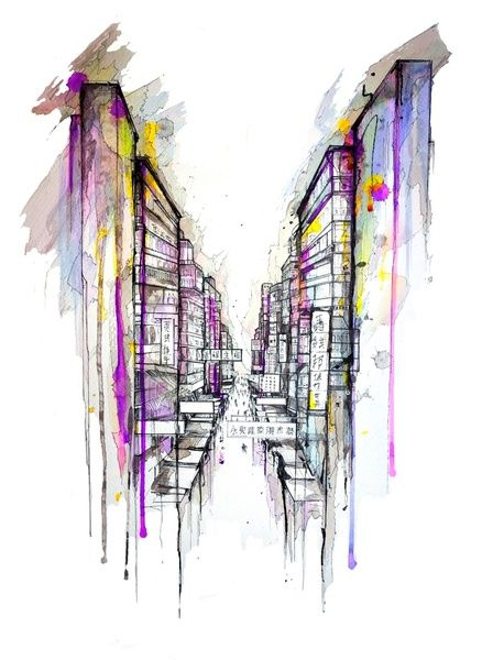 Colorful Dripping Wet Ink Drawings - My Modern Metropolis