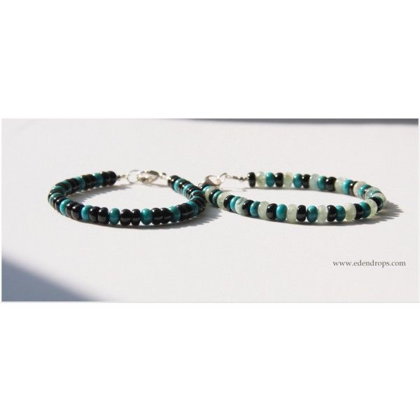 Bracelets Homme Edendrops : Turquoise & Tourmaline noire Turquoise & Tourmaline noire & Aigue-marine