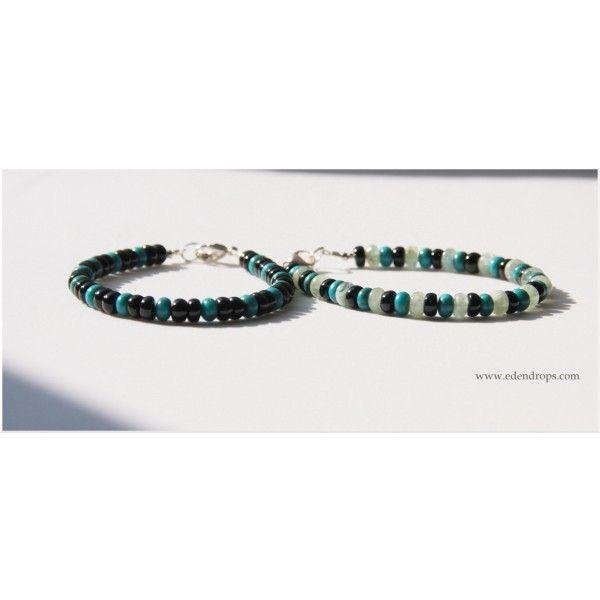 Men's bracelet: Turquoise & Black Tourmaline & Aquamarine Bracelets Hommes : Turquoise, Tourmaline noire Aigue-marine