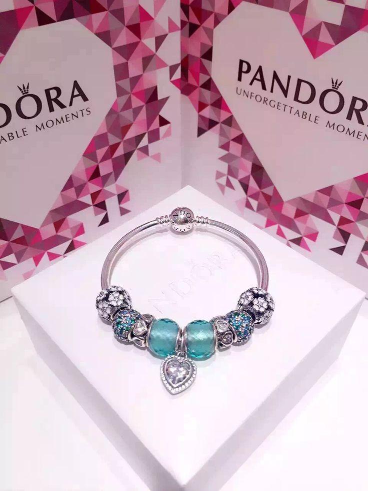 50% OFF!!! $239 Pandora Bangle Charm Bracelet Green White. Hot Sale!!! SKU: CB01561 - PANDORA Bracelet Ideas