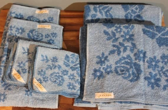 Vintage 1950 S Cannon Mills 6 Piece Blue Floral Bath Towel