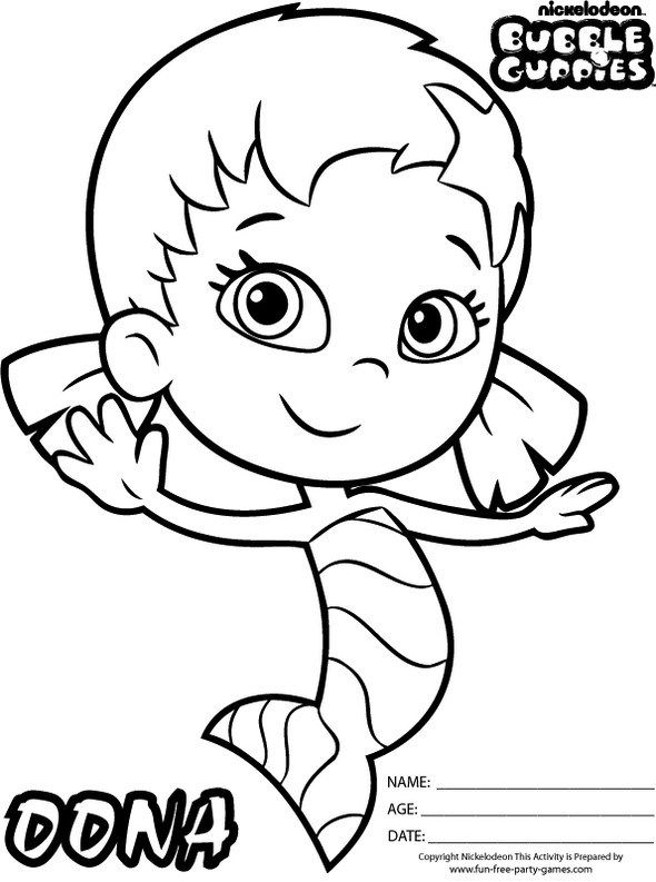 Bubble Guppies Nickelodeon Coloring Pages Oona Colouring