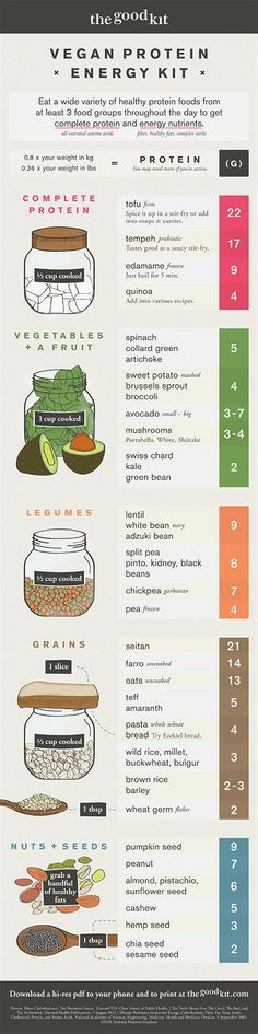 Vegan protein infographic for energy. List of plant based foods for health. Download the Vegan Protein Energy Kit as a hi-res pdf to your phone!