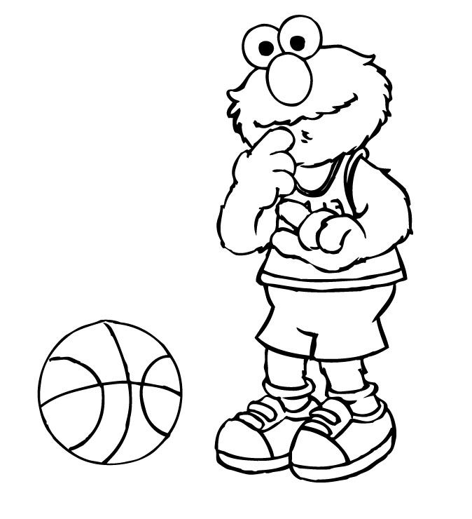 Elmo Was Playing Basketball Coloring Page