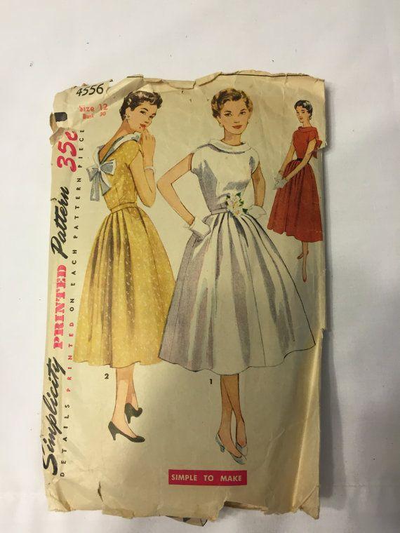 Simplicity 4556 Dress Pattern Size 12 Bust 30  1953