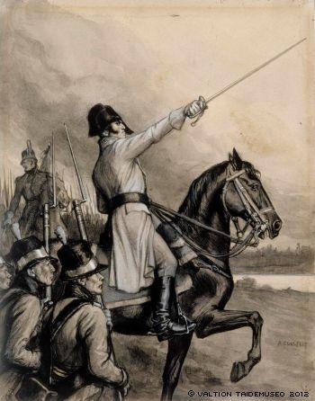 A. Edelfelt: Originaalipiirustus Vänrikki Stoolin tarinain kuvitukseen, 1897 - 1900